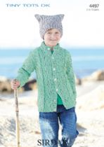Sirdar Snuggly Tiny Tots DK - 4497 Cardigan and Tea Bag Hat Knitting Pattern